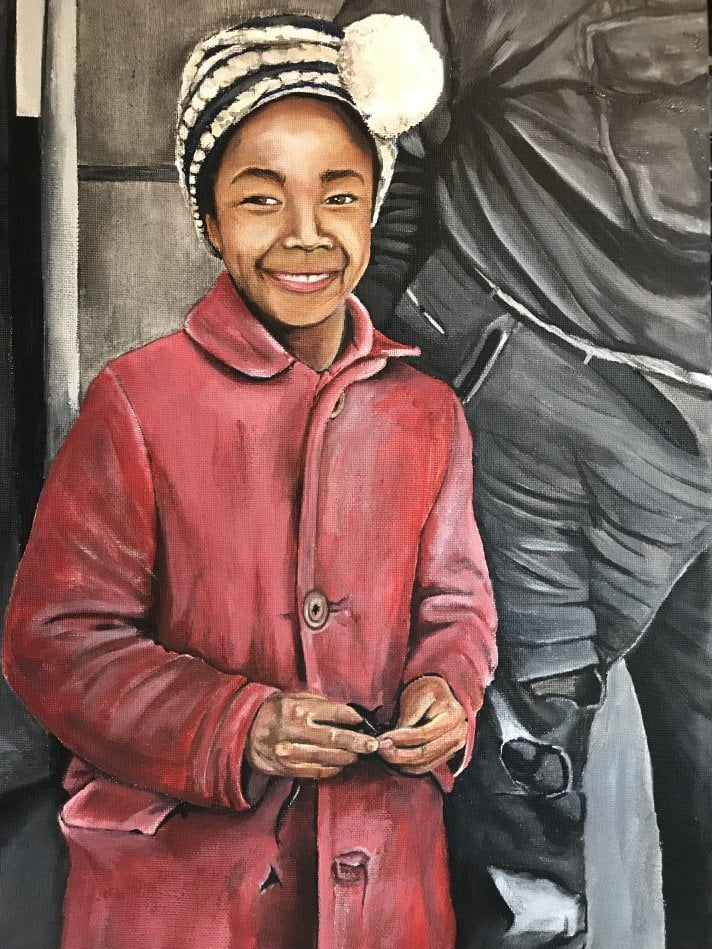 The picture of poverty: Painting of a smiling girl in a red coat.