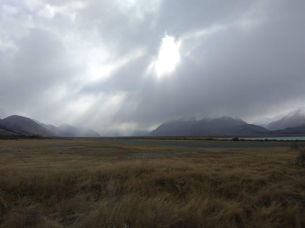 Tussock in foreground, snow capped mountains in background. Climate, Ecology, Unsustainable.